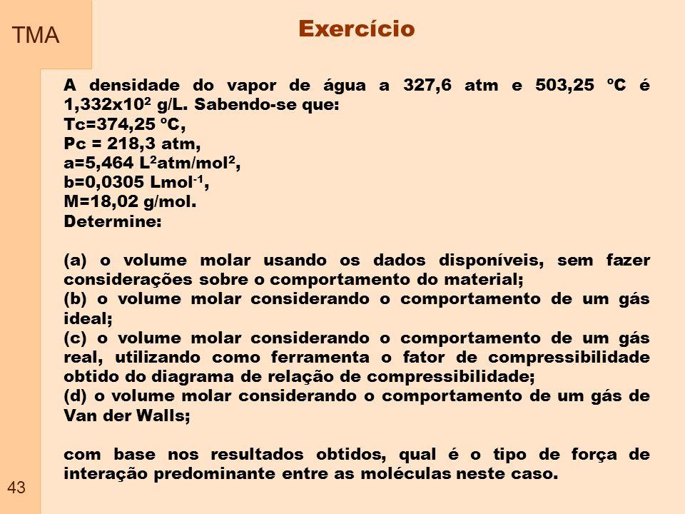 TMA 43 Exercício A densidade do vapor de água a 327,6 atm e 503,25 ºC é 1,332x10 2 g/L. Sabendo-se que: Tc=374,25 ºC, Pc = 218,3 atm, a=5,464 L 2 atm/