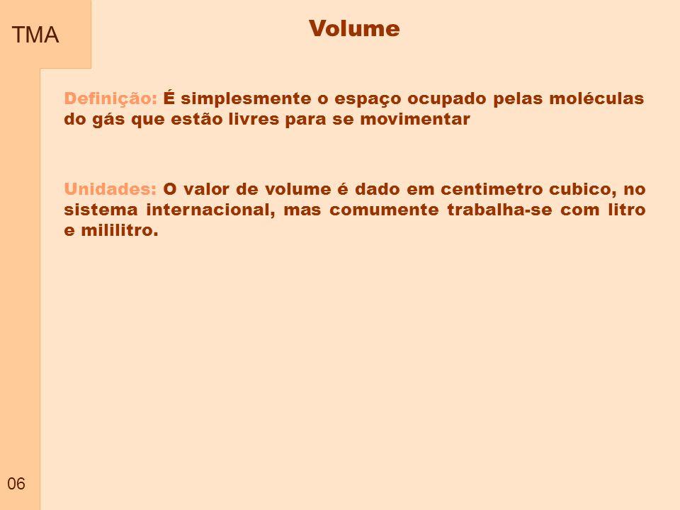 TMA 06 Volume Definição: É simplesmente o espaço ocupado pelas moléculas do gás que estão livres para se movimentar Unidades: O valor de volume é dado