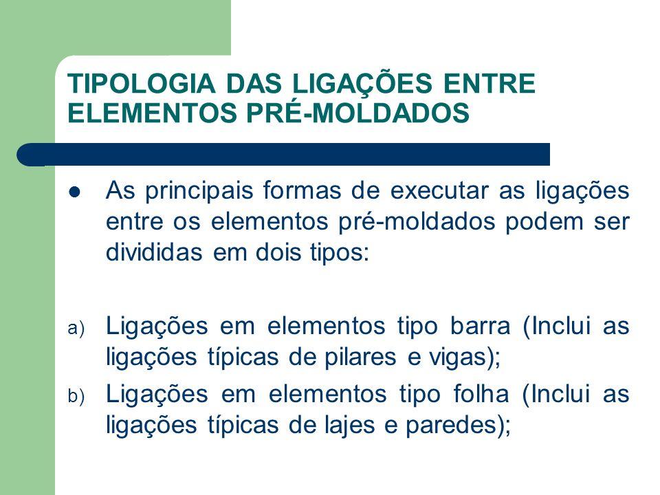 TIPOLOGIA DAS LIGAÇÕES ENTRE ELEMENTOS PRÉ-MOLDADOS As principais formas de executar as ligações entre os elementos pré-moldados podem ser divididas em dois tipos: a) Ligações em elementos tipo barra (Inclui as ligações típicas de pilares e vigas); b) Ligações em elementos tipo folha (Inclui as ligações típicas de lajes e paredes);