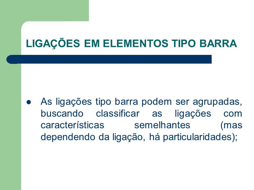 LIGAÇÕES EM ELEMENTOS TIPO BARRA As ligações tipo barra podem ser agrupadas, buscando classificar as ligações com características semelhantes (mas dependendo da ligação, há particularidades);