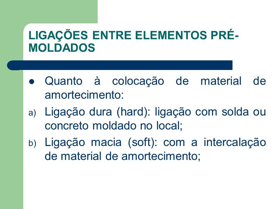 LIGAÇÕES ENTRE ELEMENTOS PRÉ- MOLDADOS Quanto à colocação de material de amortecimento: a) Ligação dura (hard): ligação com solda ou concreto moldado no local; b) Ligação macia (soft): com a intercalação de material de amortecimento;