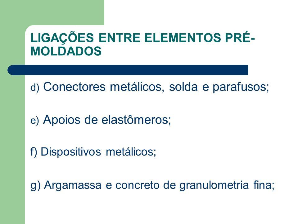 LIGAÇÕES ENTRE ELEMENTOS PRÉ- MOLDADOS d) Conectores metálicos, solda e parafusos; e) Apoios de elastômeros; f) Dispositivos metálicos; g) Argamassa e concreto de granulometria fina;