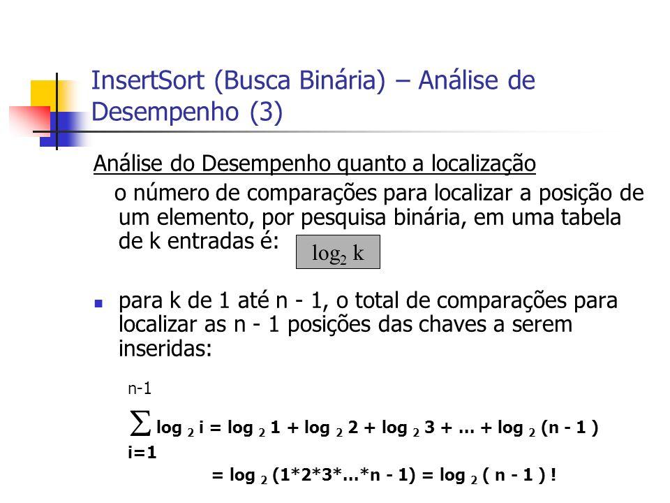 InsertSort (Busca Binária) – Análise de Desempenho (3) Análise do Desempenho quanto a localização o número de comparações para localizar a posição de