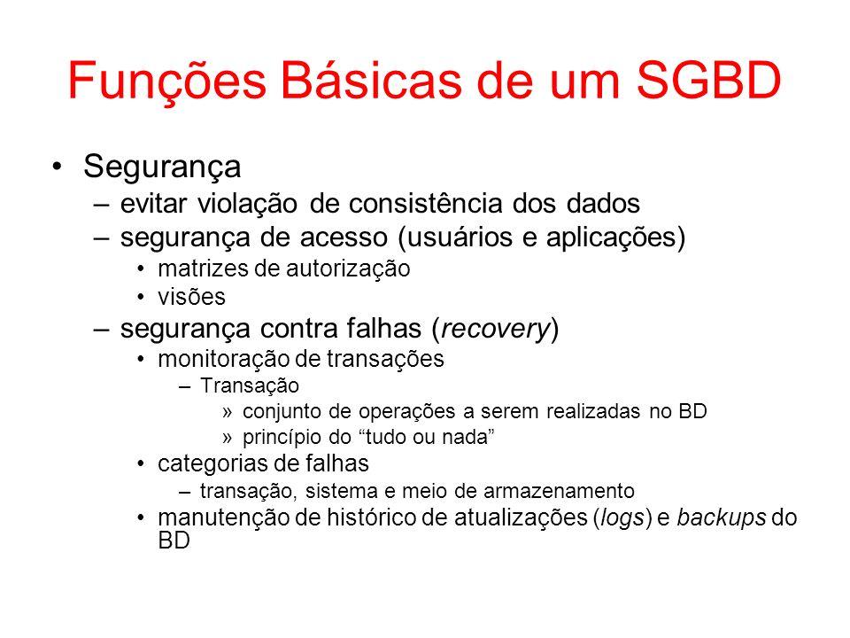 Funções Básicas de um SGBD Segurança –evitar violação de consistência dos dados –segurança de acesso (usuários e aplicações) matrizes de autorização v