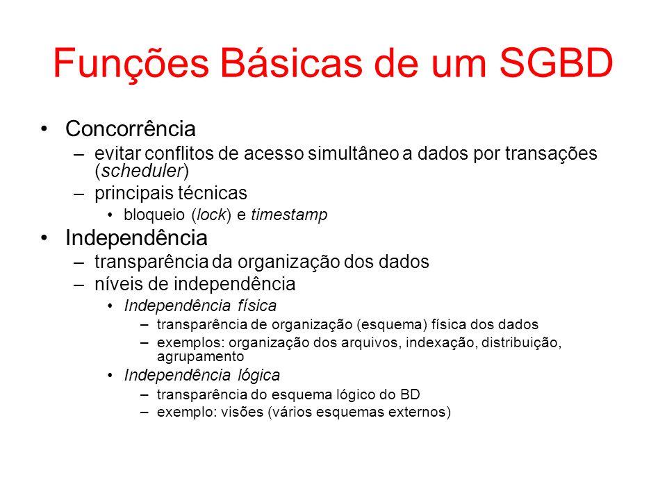 Funções Básicas de um SGBD Concorrência –evitar conflitos de acesso simultâneo a dados por transações (scheduler) –principais técnicas bloqueio (lock)