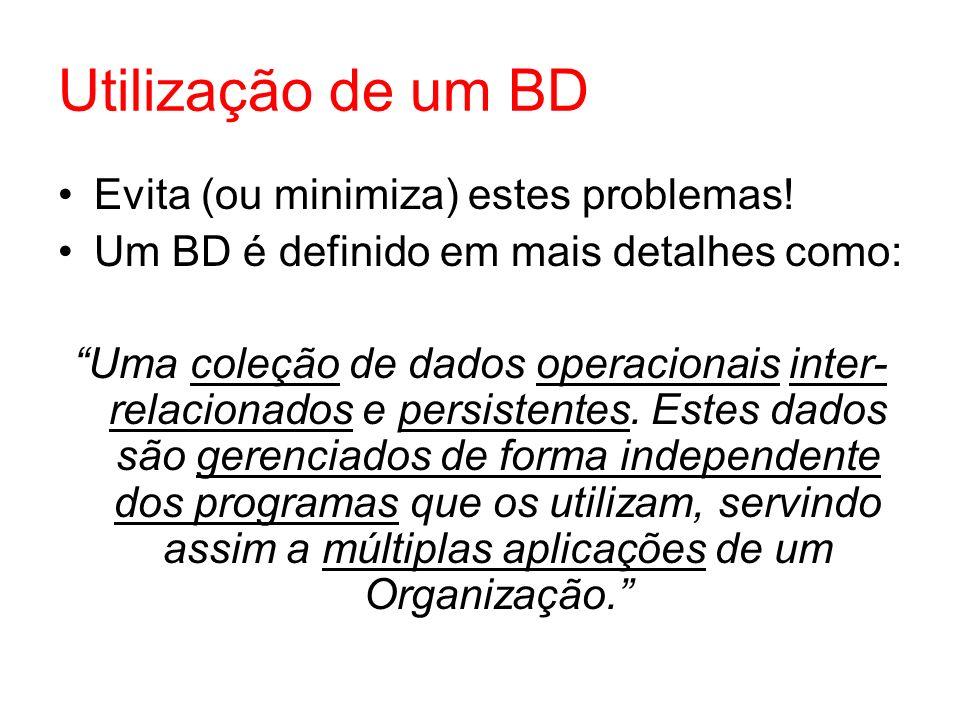 Utilização de um BD Evita (ou minimiza) estes problemas! Um BD é definido em mais detalhes como: Uma coleção de dados operacionais inter- relacionados