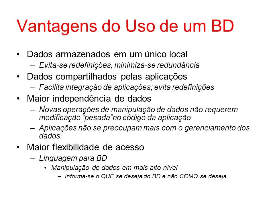 Vantagens do Uso de um BD Dados armazenados em um único local –Evita-se redefinições, minimiza-se redundância Dados compartilhados pelas aplicações –F