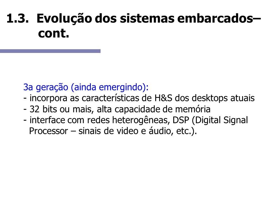 1.3. Evolução dos sistemas embarcados– cont. 3a geração (ainda emergindo): - incorpora as características de H&S dos desktops atuais - 32 bits ou mais