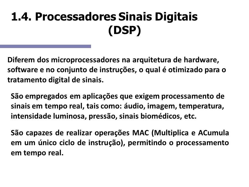 1.4. Processadores Sinais Digitais (DSP) Diferem dos microprocessadores na arquitetura de hardware, software e no conjunto de instruções, o qual é oti