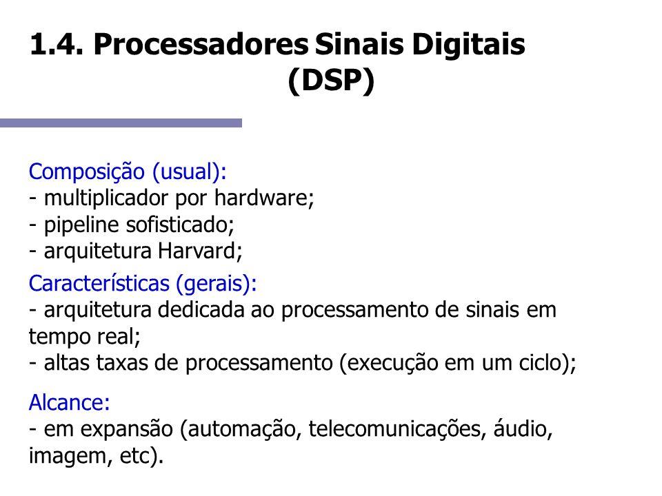 1.4. Processadores Sinais Digitais (DSP) Composição (usual): - multiplicador por hardware; - pipeline sofisticado; - arquitetura Harvard; Característi