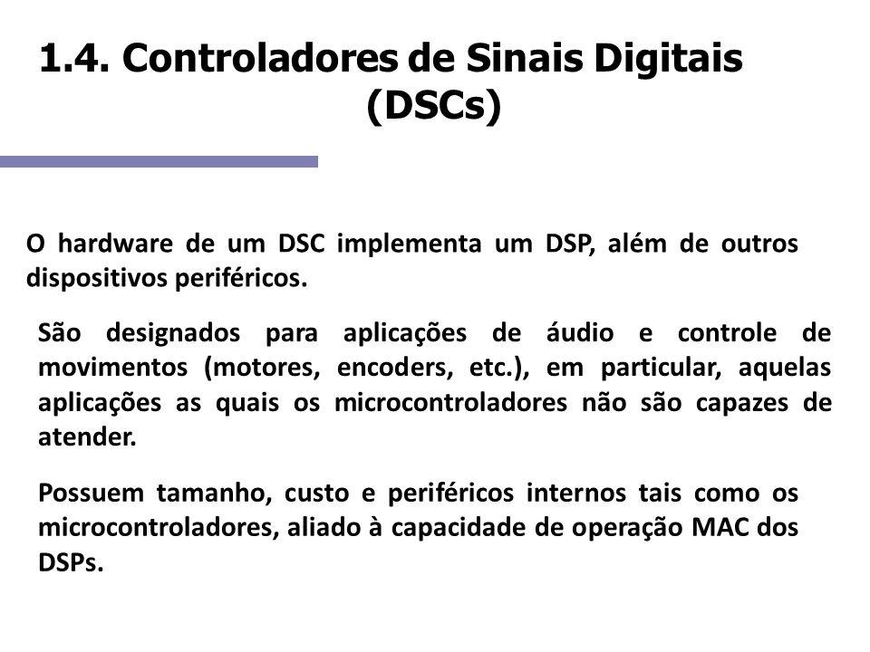 1.4. Controladores de Sinais Digitais (DSCs) O hardware de um DSC implementa um DSP, além de outros dispositivos periféricos. São designados para apli