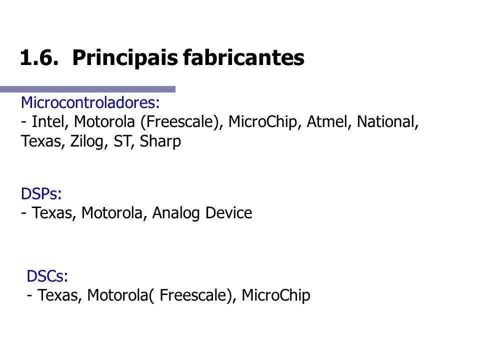 1.6. Principais fabricantes Microcontroladores: - Intel, Motorola (Freescale), MicroChip, Atmel, National, Texas, Zilog, ST, Sharp DSPs: - Texas, Moto