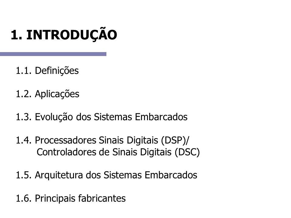 1. INTRODUÇÃO 1.1. Definições 1.2. Aplicações 1.3. Evolução dos Sistemas Embarcados 1.4. Processadores Sinais Digitais (DSP)/ Controladores de Sinais