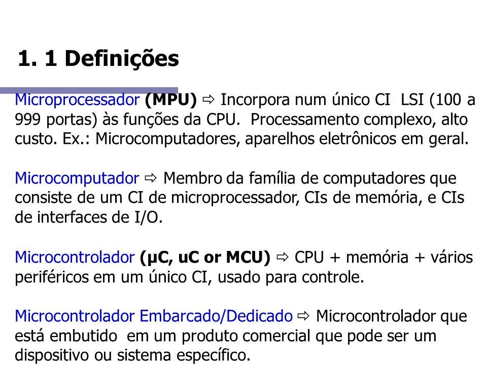 1. 1 Definições Microprocessador (MPU) Incorpora num único CI LSI (100 a 999 portas) às funções da CPU. Processamento complexo, alto custo. Ex.: Micro