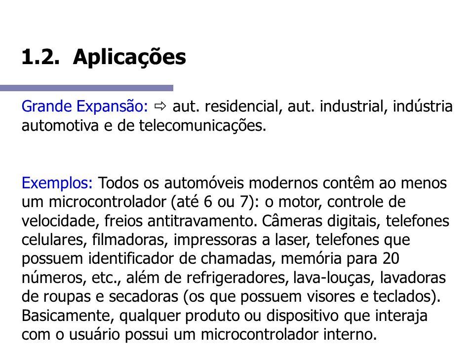 1.2. Aplicações Grande Expansão: aut. residencial, aut. industrial, indústria automotiva e de telecomunicações. Exemplos: Todos os automóveis modernos