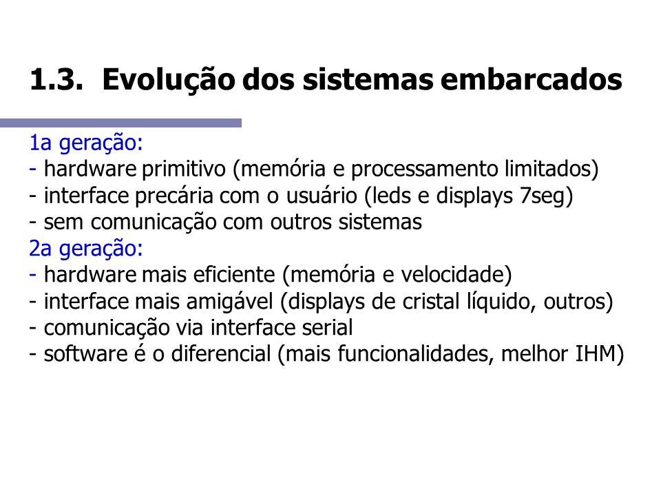 1.3. Evolução dos sistemas embarcados 1a geração: - hardware primitivo (memória e processamento limitados) - interface precária com o usuário (leds e