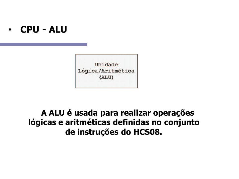 CPU - ALU A A ALU é usada para realizar operações lógicas e aritméticas definidas no conjunto de instruções do HCS08.