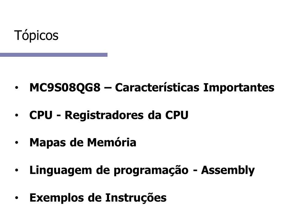 Tópicos MC9S08QG8 – Características Importantes CPU - Registradores da CPU Mapas de Memória Linguagem de programação - Assembly Exemplos de Instruções