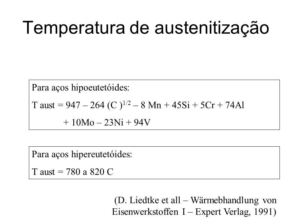 Temperatura de austenitização Para aços hipoeutetóides: T aust = 947 – 264 (C ) 1/2 – 8 Mn + 45Si + 5Cr + 74Al + 10Mo – 23Ni + 94V Para aços hipereute