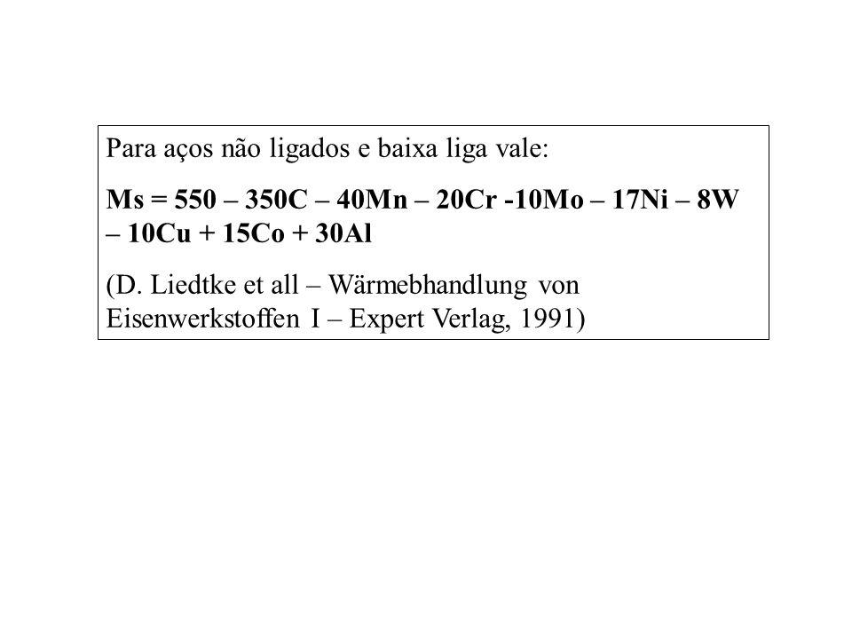 Para aços não ligados e baixa liga vale: Ms = 550 – 350C – 40Mn – 20Cr -10Mo – 17Ni – 8W – 10Cu + 15Co + 30Al (D. Liedtke et all – Wärmebhandlung von