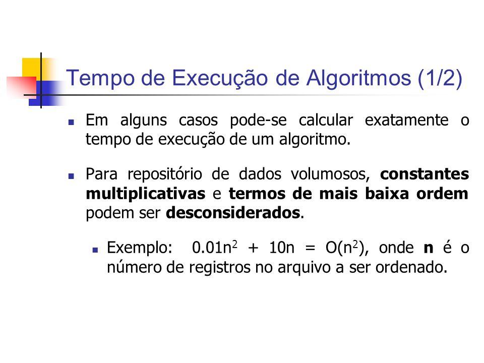 Tempo de Execução de Algoritmos (2/2) na = 0.01n 2 b = 10nCálculo a+b 101100101 5025500525 100 1.0001.100 5002.5005.0007.500 1.00010.000 20.000 5.000250.00050.000300.000 10.0001.000.000100.0001.100.000 50.00025.000.000500.00025.500.000 100.000100.000.0001.000.000101.000.000 500.0002.500.000.0005.000.0002.505.000.000 1.000.00010.000.000.00010.000.00010.010.000.000 0.01n 2 + 10n = O(n 2 )