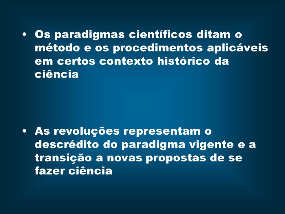 Os paradigmas científicos ditam o método e os procedimentos aplicáveis em certos contexto histórico da ciência As revoluções representam o descrédito do paradigma vigente e a transição a novas propostas de se fazer ciência