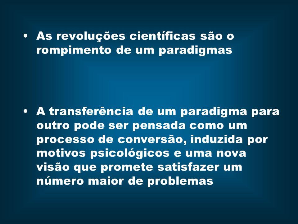 As revoluções científicas são o rompimento de um paradigmas A transferência de um paradigma para outro pode ser pensada como um processo de conversão,