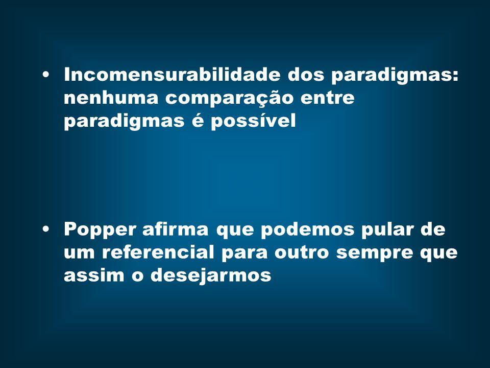 Incomensurabilidade dos paradigmas: nenhuma comparação entre paradigmas é possível Popper afirma que podemos pular de um referencial para outro sempre