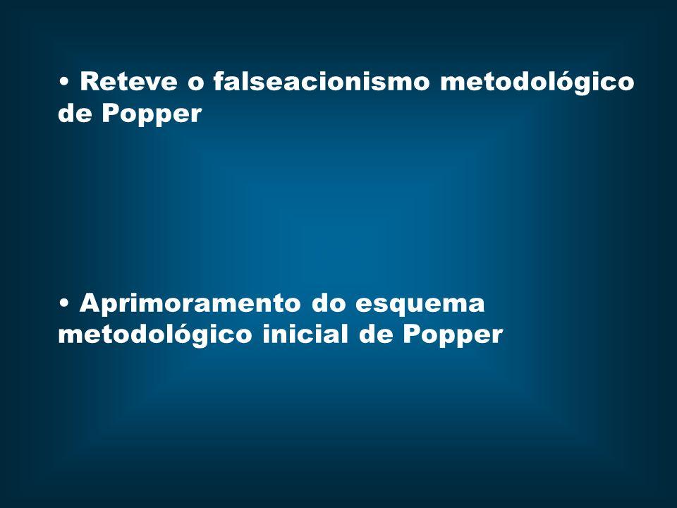 Reteve o falseacionismo metodológico de Popper Aprimoramento do esquema metodológico inicial de Popper