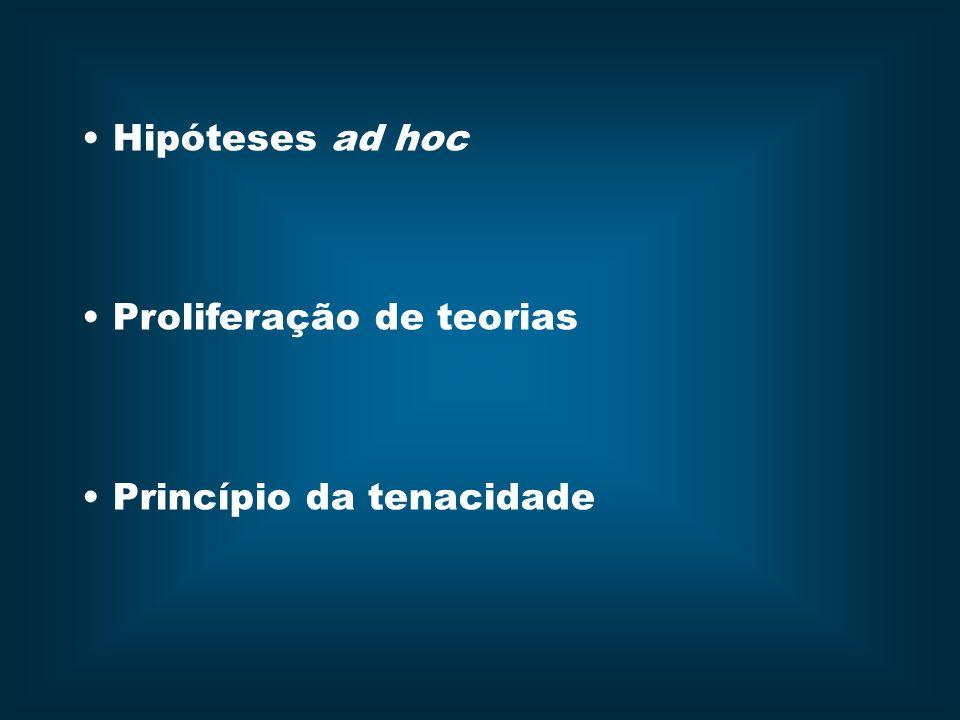 Hipóteses ad hoc Proliferação de teorias Princípio da tenacidade