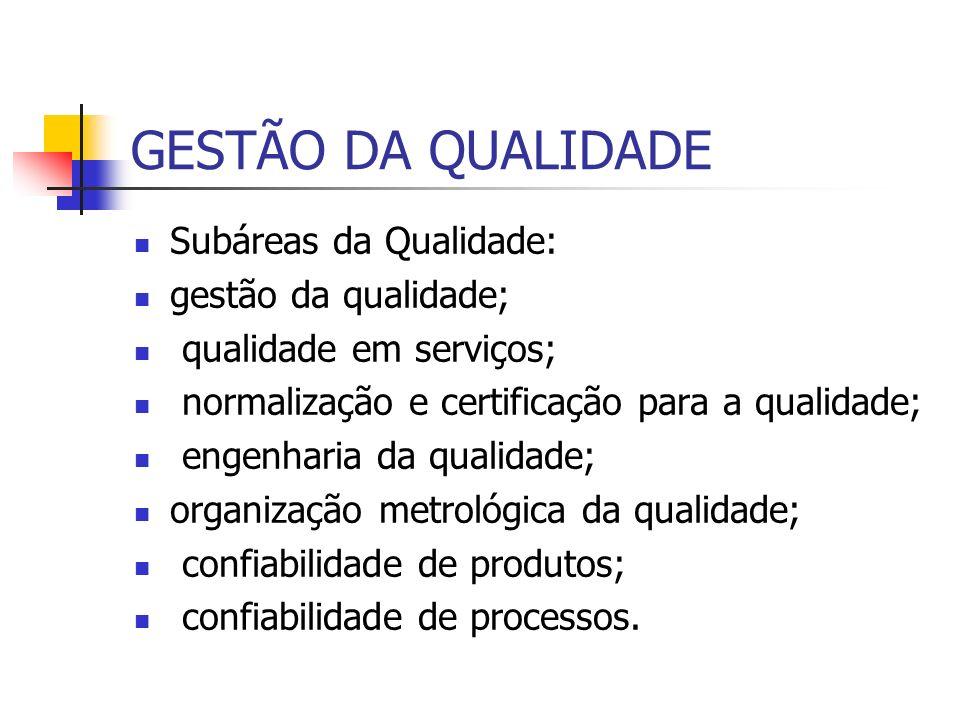 GESTÃO DA QUALIDADE Subáreas da Qualidade: gestão da qualidade; qualidade em serviços; normalização e certificação para a qualidade; engenharia da qua