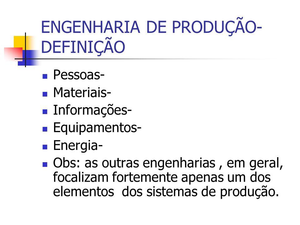 ENGENHARIA DE PRODUÇÃO- DEFINIÇÃO Pessoas- Materiais- Informações- Equipamentos- Energia- Obs: as outras engenharias, em geral, focalizam fortemente a