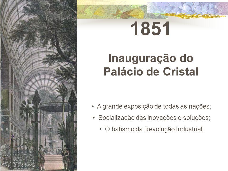 1851 Inauguração do Palácio de Cristal A grande exposição de todas as nações; Socialização das inovações e soluções; O batismo da Revolução Industrial