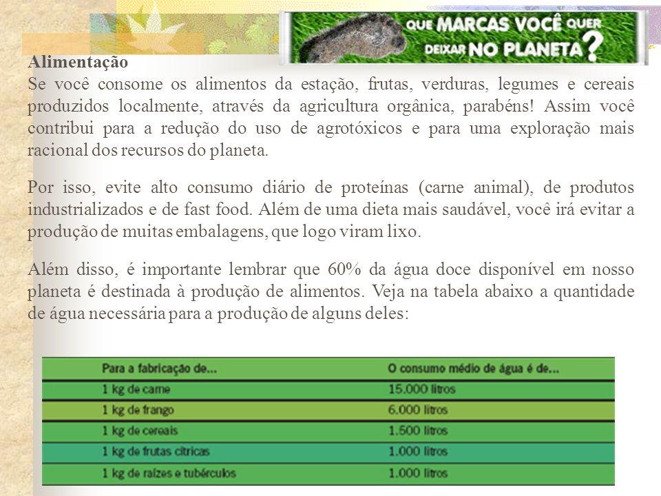 Alimentação Se você consome os alimentos da estação, frutas, verduras, legumes e cereais produzidos localmente, através da agricultura orgânica, parab
