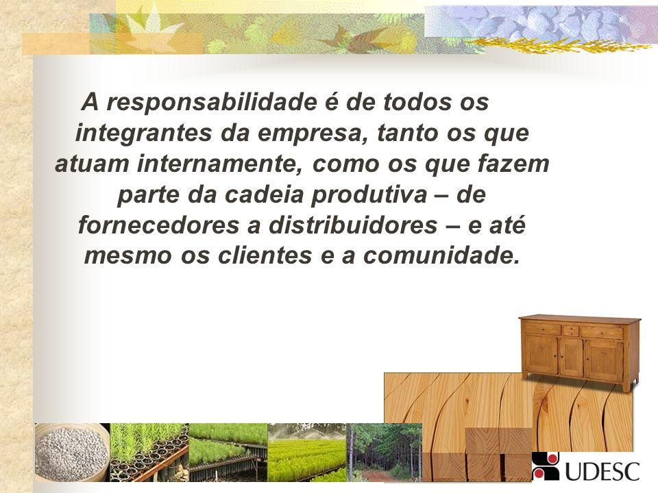 A responsabilidade é de todos os integrantes da empresa, tanto os que atuam internamente, como os que fazem parte da cadeia produtiva – de fornecedore