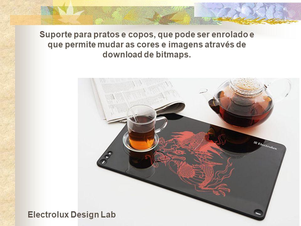 Suporte para pratos e copos, que pode ser enrolado e que permite mudar as cores e imagens através de download de bitmaps. Electrolux Design Lab