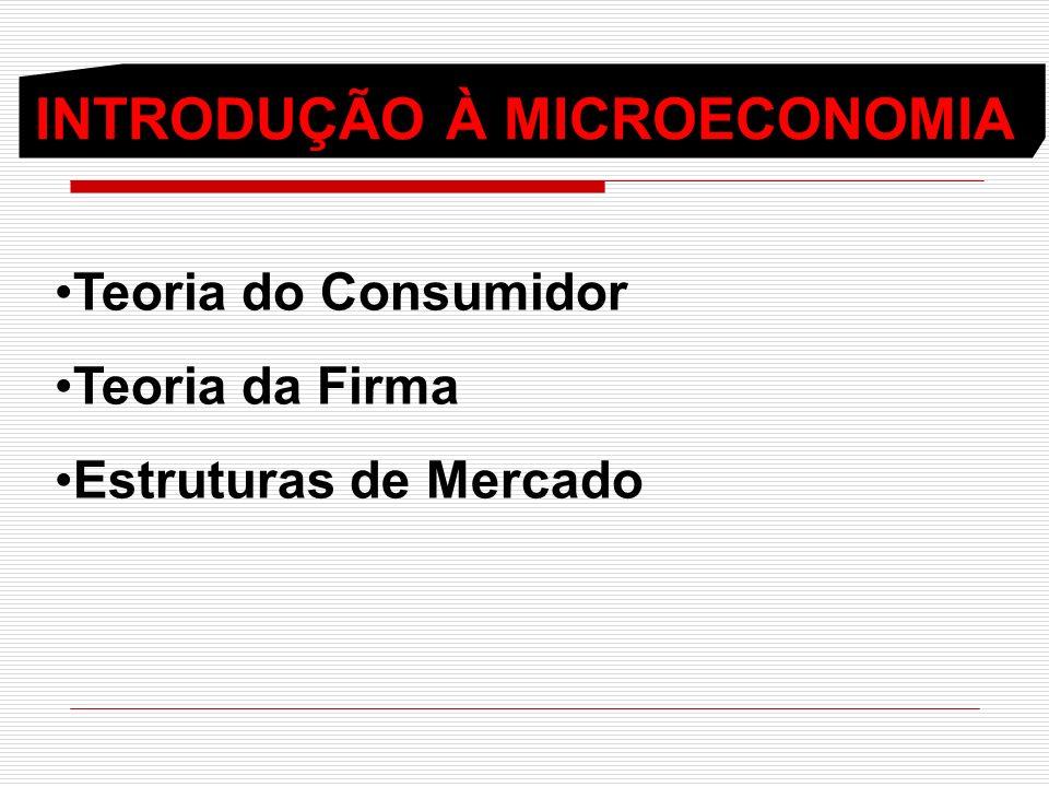 INTRODUÇÃO À MICROECONOMIA Teoria do Consumidor Teoria da Firma Estruturas de Mercado