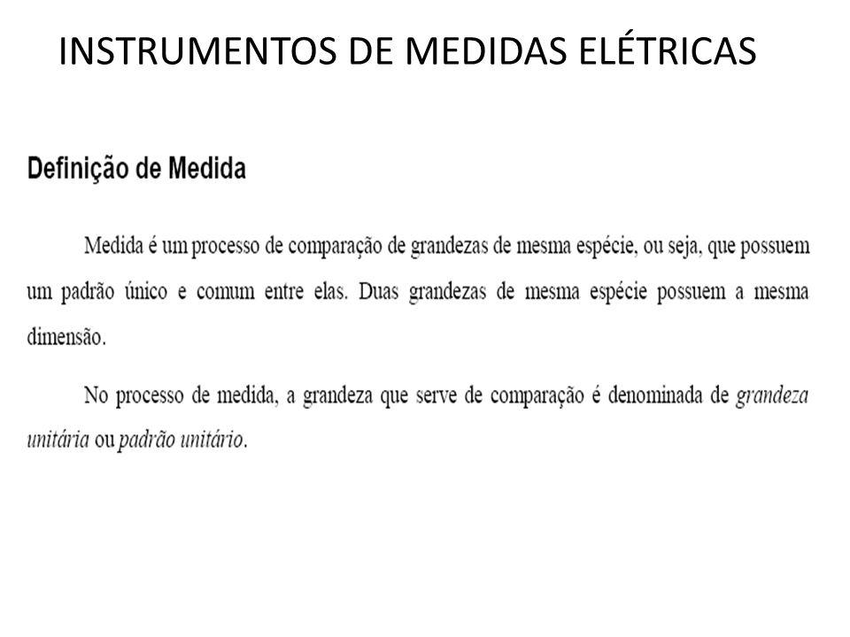 INSTRUMENTOS DE MEDIDAS ELÉTRICAS INSTRUMENTOS ANALÓGICOS No caso dos instrumentos analógicos, é necessário que a grandeza a ser medida forneça ao medidor a energia necessária para deslocar as partes móveis (bobina, ponteiro,mola,..).