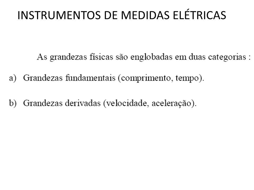 INSTRUMENTOS DE MEDIDAS ELÉTRICAS Os instrumentos analógicos mais utilizados são: (a) ferro móvel; (b) bobina móvel ( ou Dársonval); (c) eletrodinâmico.
