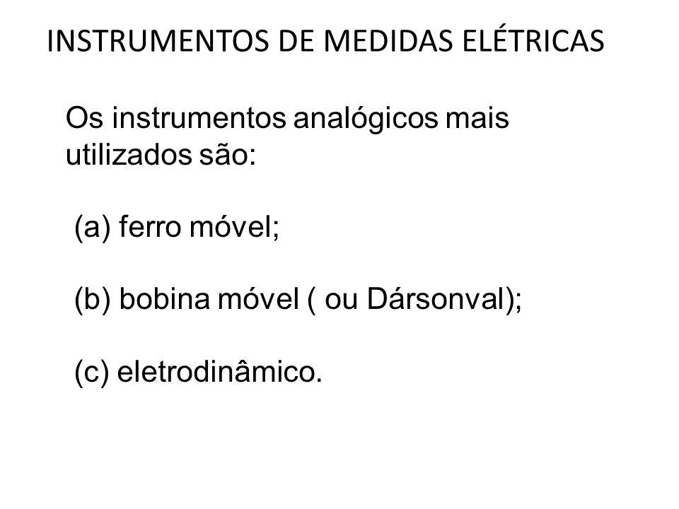 INSTRUMENTOS DE MEDIDAS ELÉTRICAS Os instrumentos analógicos mais utilizados são: (a) ferro móvel; (b) bobina móvel ( ou Dársonval); (c) eletrodinâmic
