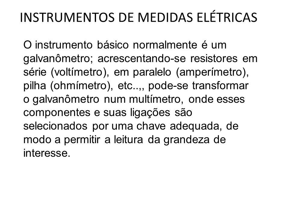 INSTRUMENTOS DE MEDIDAS ELÉTRICAS O instrumento básico normalmente é um galvanômetro; acrescentando-se resistores em série (voltímetro), em paralelo (