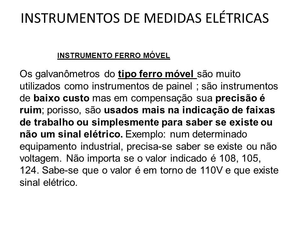 INSTRUMENTOS DE MEDIDAS ELÉTRICAS Os galvanômetros do tipo ferro móvel são muito utilizados como instrumentos de painel ; são instrumentos de baixo cu