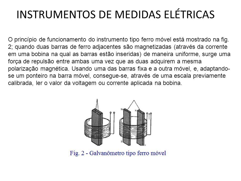 INSTRUMENTOS DE MEDIDAS ELÉTRICAS O princípio de funcionamento do instrumento tipo ferro móvel está mostrado na fig. 2; quando duas barras de ferro ad