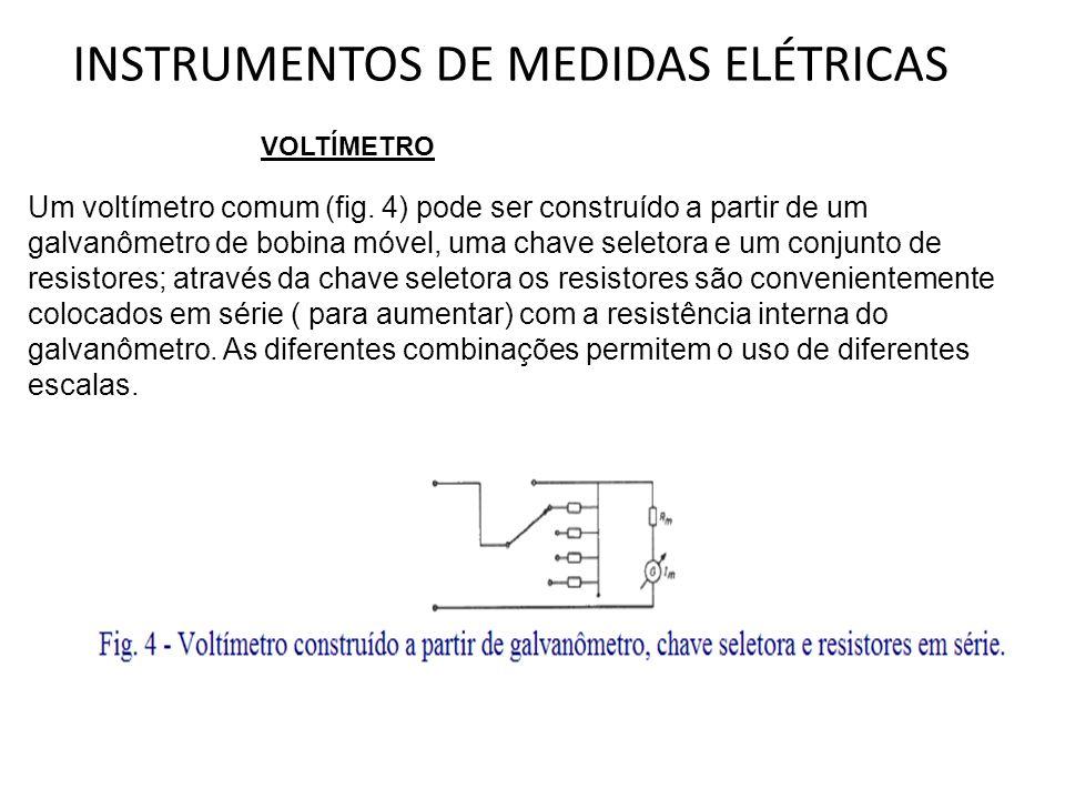 INSTRUMENTOS DE MEDIDAS ELÉTRICAS Um voltímetro comum (fig. 4) pode ser construído a partir de um galvanômetro de bobina móvel, uma chave seletora e u