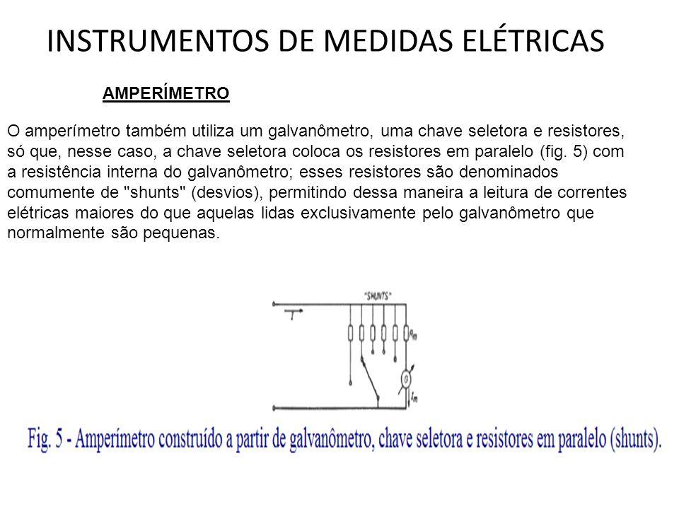INSTRUMENTOS DE MEDIDAS ELÉTRICAS AMPERÍMETRO O amperímetro também utiliza um galvanômetro, uma chave seletora e resistores, só que, nesse caso, a cha