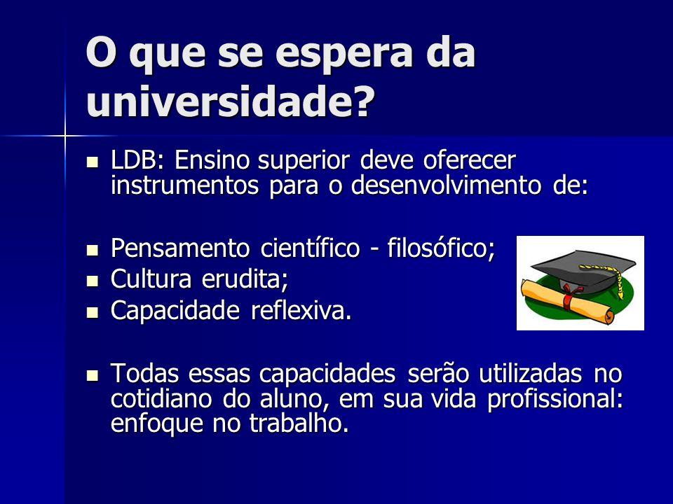 O que se espera da universidade? LDB: Ensino superior deve oferecer instrumentos para o desenvolvimento de: LDB: Ensino superior deve oferecer instrum