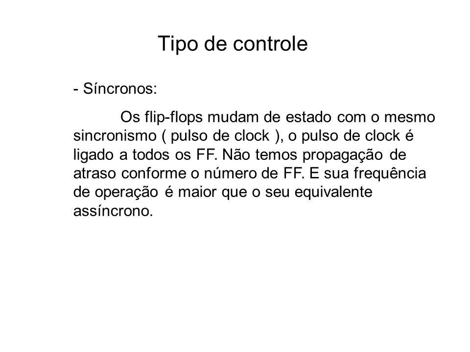 Tipo de controle - Síncronos: Os flip-flops mudam de estado com o mesmo sincronismo ( pulso de clock ), o pulso de clock é ligado a todos os FF.