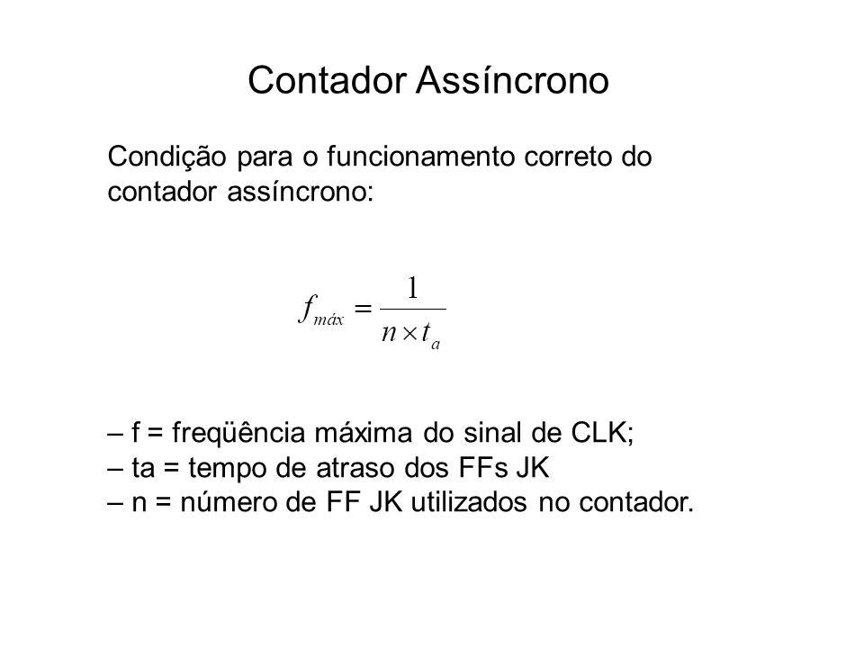 Contador Assíncrono Condição para o funcionamento correto do contador assíncrono: – f = freqüência máxima do sinal de CLK; – ta = tempo de atraso dos FFs JK – n = número de FF JK utilizados no contador.
