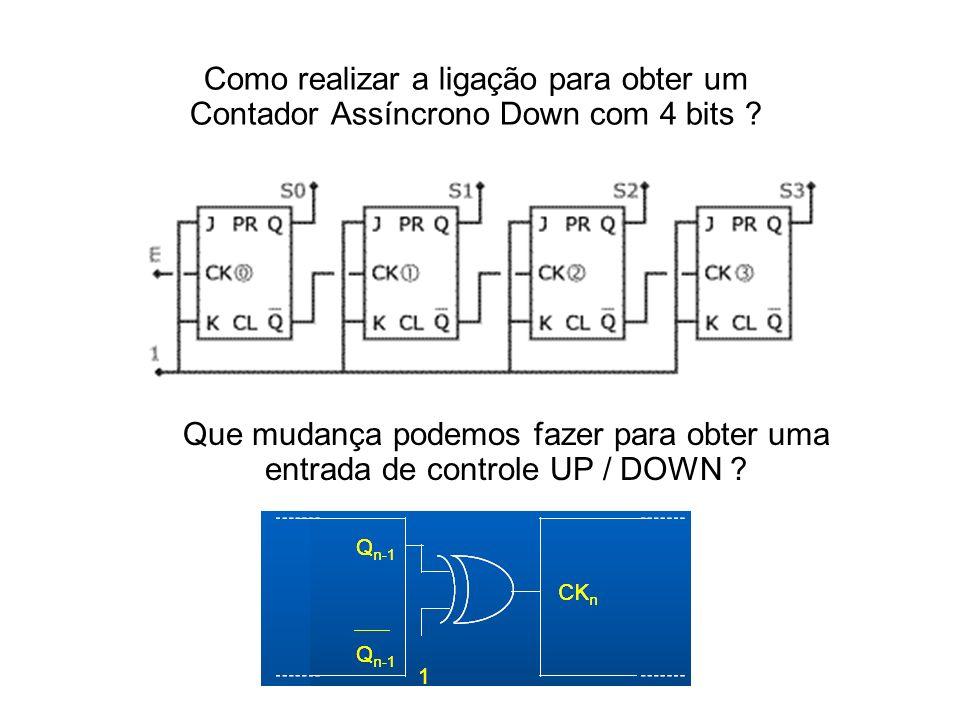 Como realizar a ligação para obter um Contador Assíncrono Down com 4 bits .