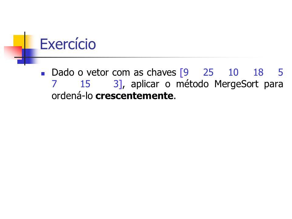 Exercício Dado o vetor com as chaves [9 25 10 18 5 7 15 3], aplicar o método MergeSort para ordená-lo crescentemente.